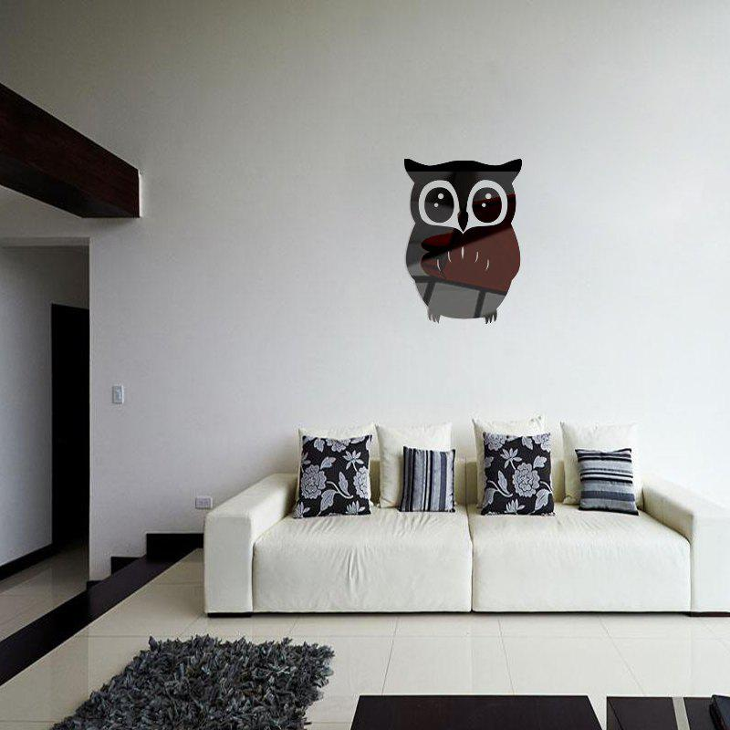 3D Removable Owl Shape Mirror Wall Art Sticker Mural Home Decoration - BLACK