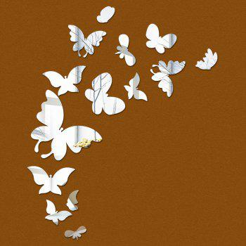 Acrylic Decorative Butterflies Shaped Mirror Stickers Wall Decoration 14pcs - SILVER SILVER