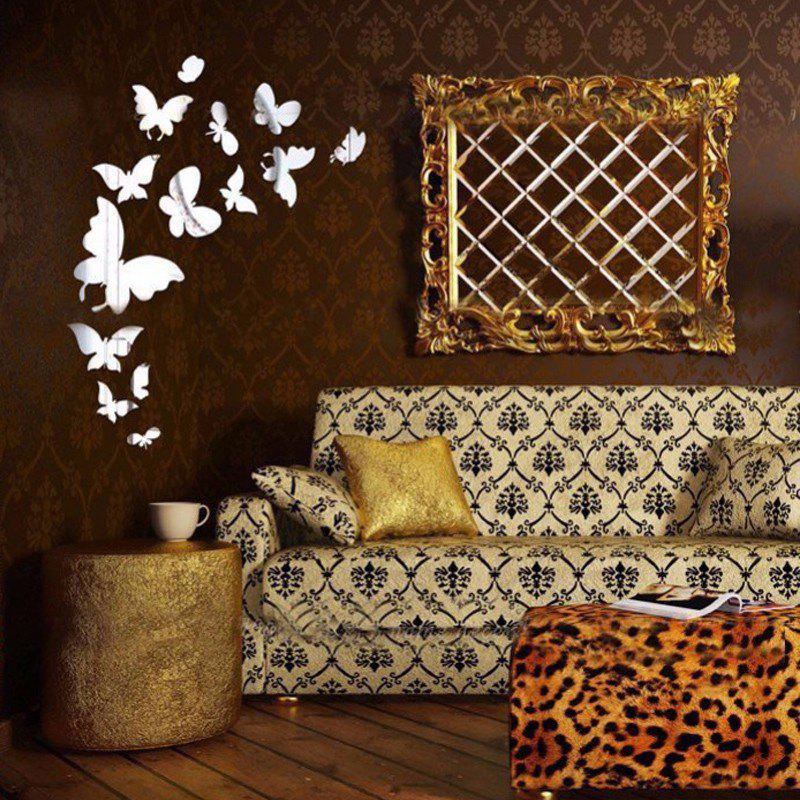 Acrylic Decorative Butterflies Shaped Mirror Stickers Wall Decoration 14pcs - SILVER