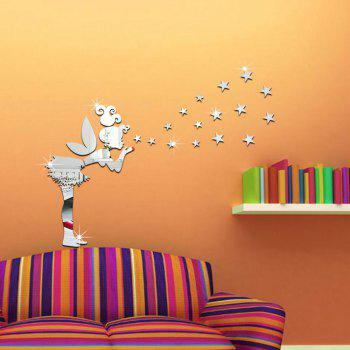 Diy Removable Angel and Stars Mirror Art Wall Stickers Home Decoration -  SILVER