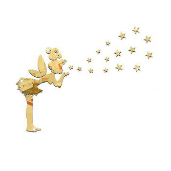 Diy Removable Angel and Stars Mirror Art Wall Stickers Home Decoration - GOLDEN GOLDEN