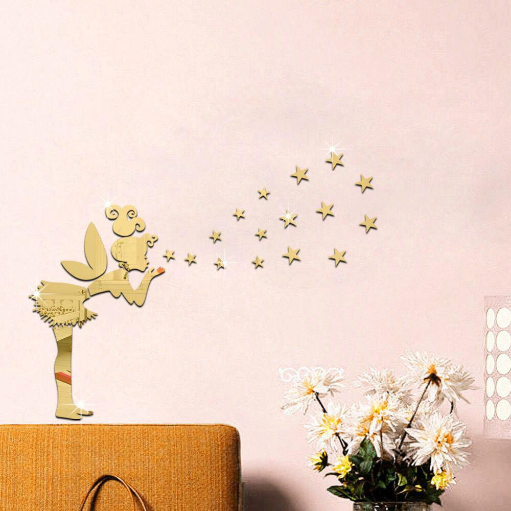 Diy Removable Angel and Stars Mirror Art Wall Stickers Home Decoration - GOLDEN