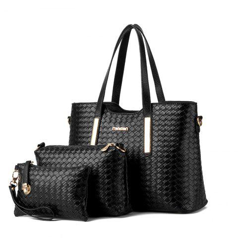 3 Pcs Women's Handbag Set Weave Pattern Color Fresh Bags Set - BLACK
