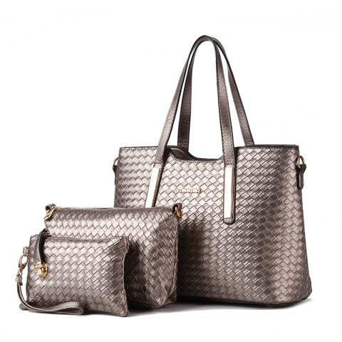 3 Pcs Women's Handbag Set Weave Pattern Color Fresh Bags Set - SILVER