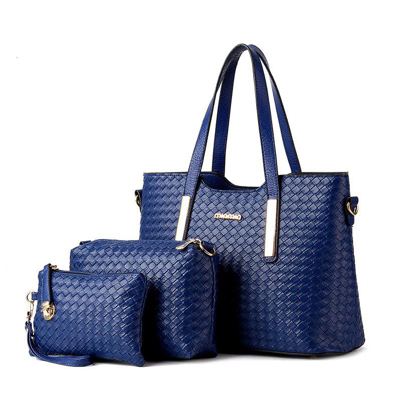 3 Pcs Women's Handbag Set Weave Pattern Color Fresh Bags Set - DEEP BLUE