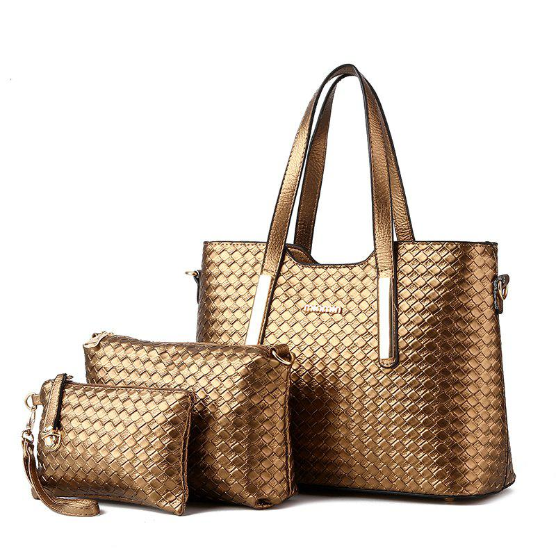 3 Pcs Women's Handbag Set Weave Pattern Color Fresh Bags Set - BRONZED