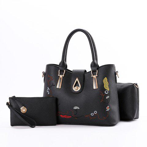 3 Pcs Women's Handbag Set Sweet Style Vintage Embroidery Chic Bags Set - BLACK