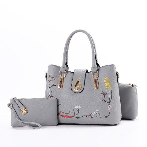 3 Pcs Women's Handbag Set Sweet Style Vintage Embroidery Chic Bags Set - DEEP GRAY