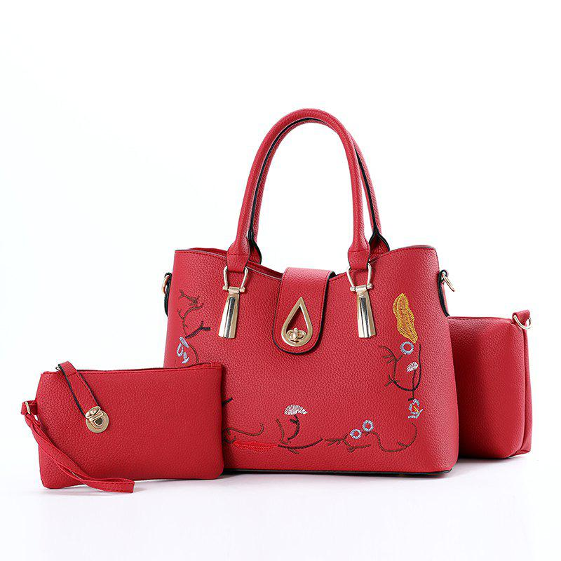 3 Pcs Women's Handbag Set Sweet Style Vintage Embroidery Chic Bags Set - RED
