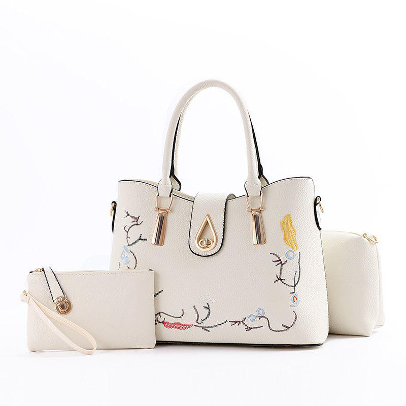 3 Pcs Women's Handbag Set Sweet Style Vintage Embroidery Chic Bags Set - WHITE