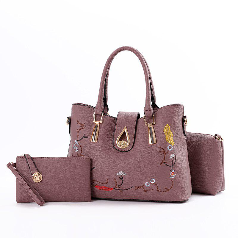 3 Pcs Women's Handbag Set Sweet Style Vintage Embroidery Chic Bags Set - DEEP PURPLE