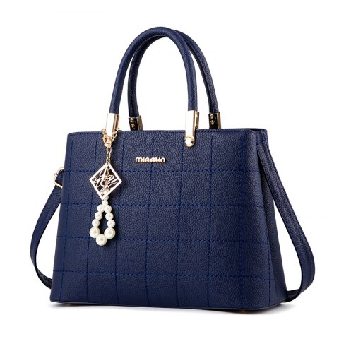 Women's Handbag Classic Elegant Solid Color Plaid Embossed Bag - DEEP BLUE
