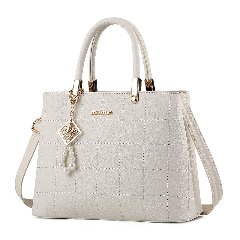 Women's Handbag Classic Elegant Solid Color Plaid Embossed Bag - WHITE