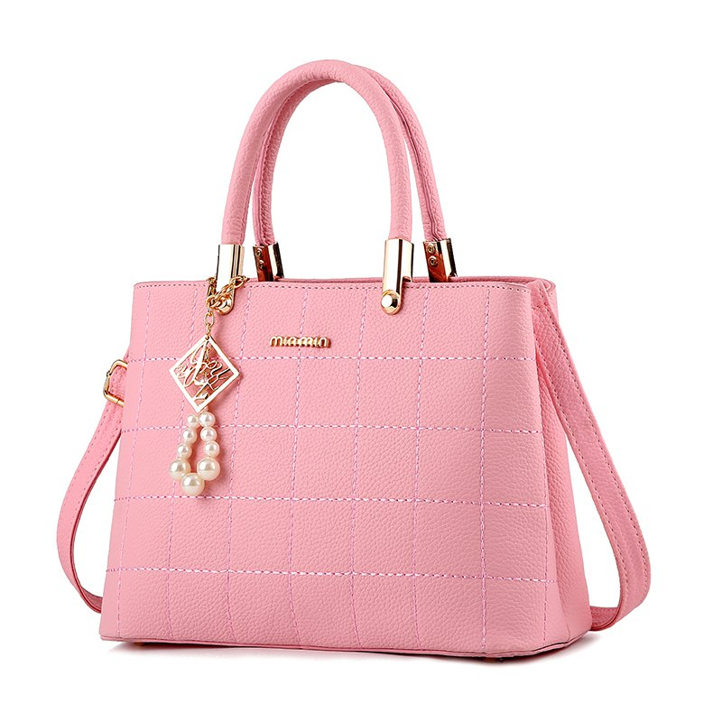 Women's Handbag Classic Elegant Solid Color Plaid Embossed Bag - PINK