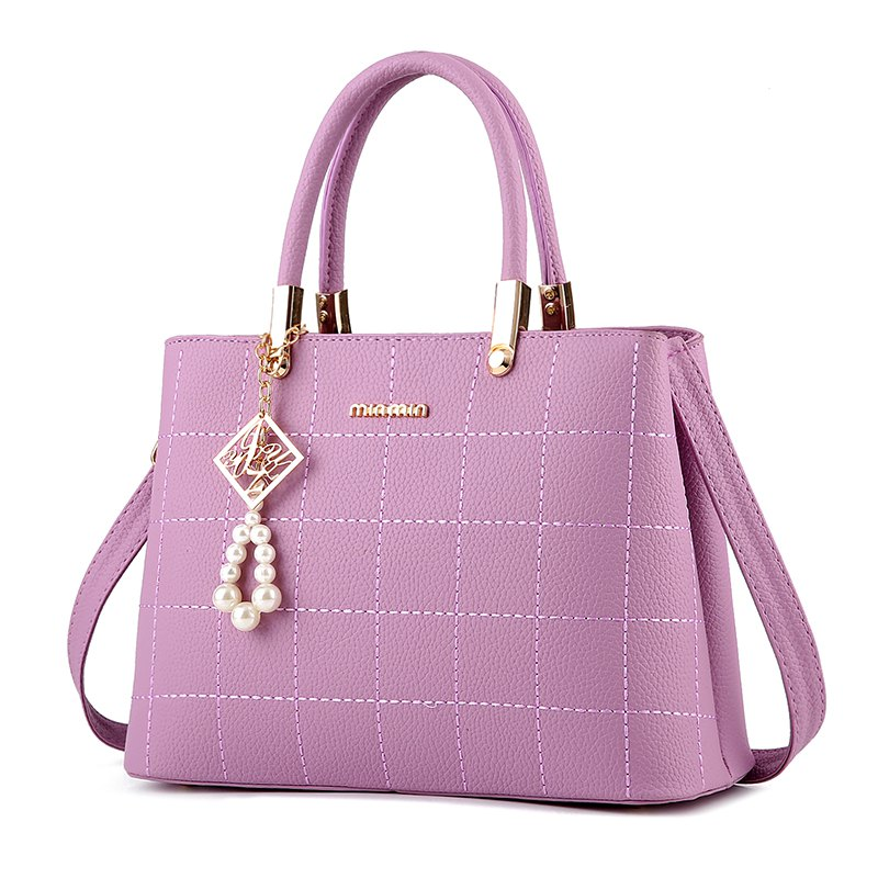 Women's Handbag Classic Elegant Solid Color Plaid Embossed Bag - PURPLE