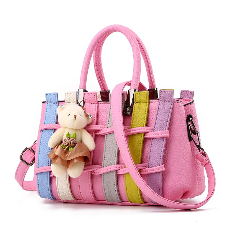 Women's Handbag Multiple Color Braid Patchwork Versatile Handbag - PINK