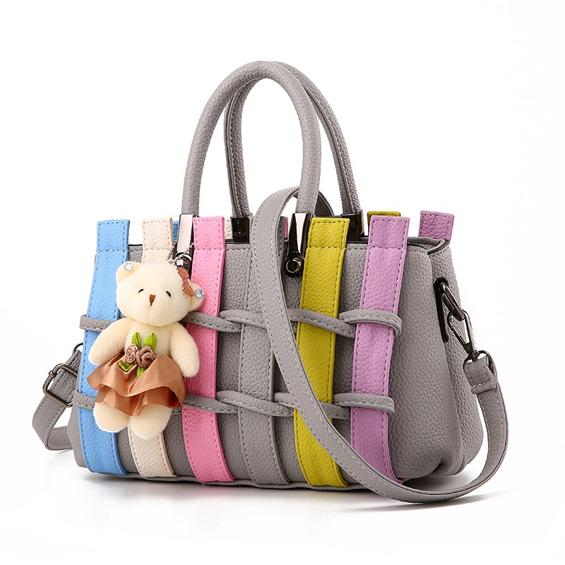 Women's Handbag Multiple Color Braid Patchwork Versatile Handbag - LIGHT GRAY
