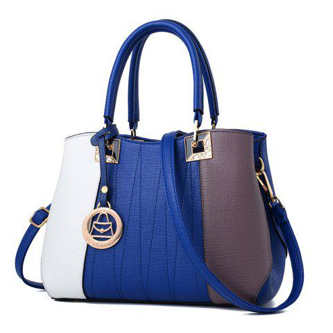 Women's Handbag Fashion Contrast Color Zipper Bag - BLUE