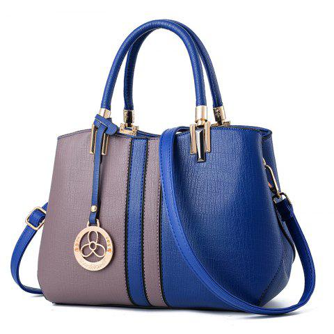 Women's Handbag Fashion Contrast Color Zipper Bag - DEEP BLUE