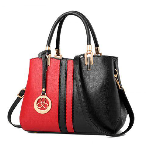 Women's Handbag Fashion Contrast Color Zipper Bag - RED