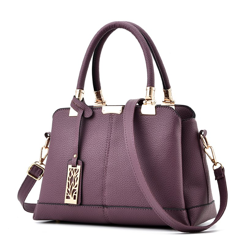 Women's Handbag Sweet Ladylike Solid Fashion Trendy Bag - PURPLE