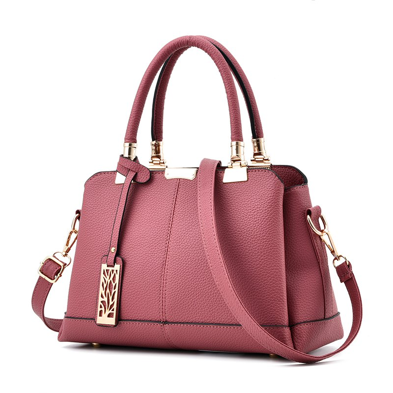 Women's Handbag Sweet Ladylike Solid Fashion Trendy Bag - DEEP PINK