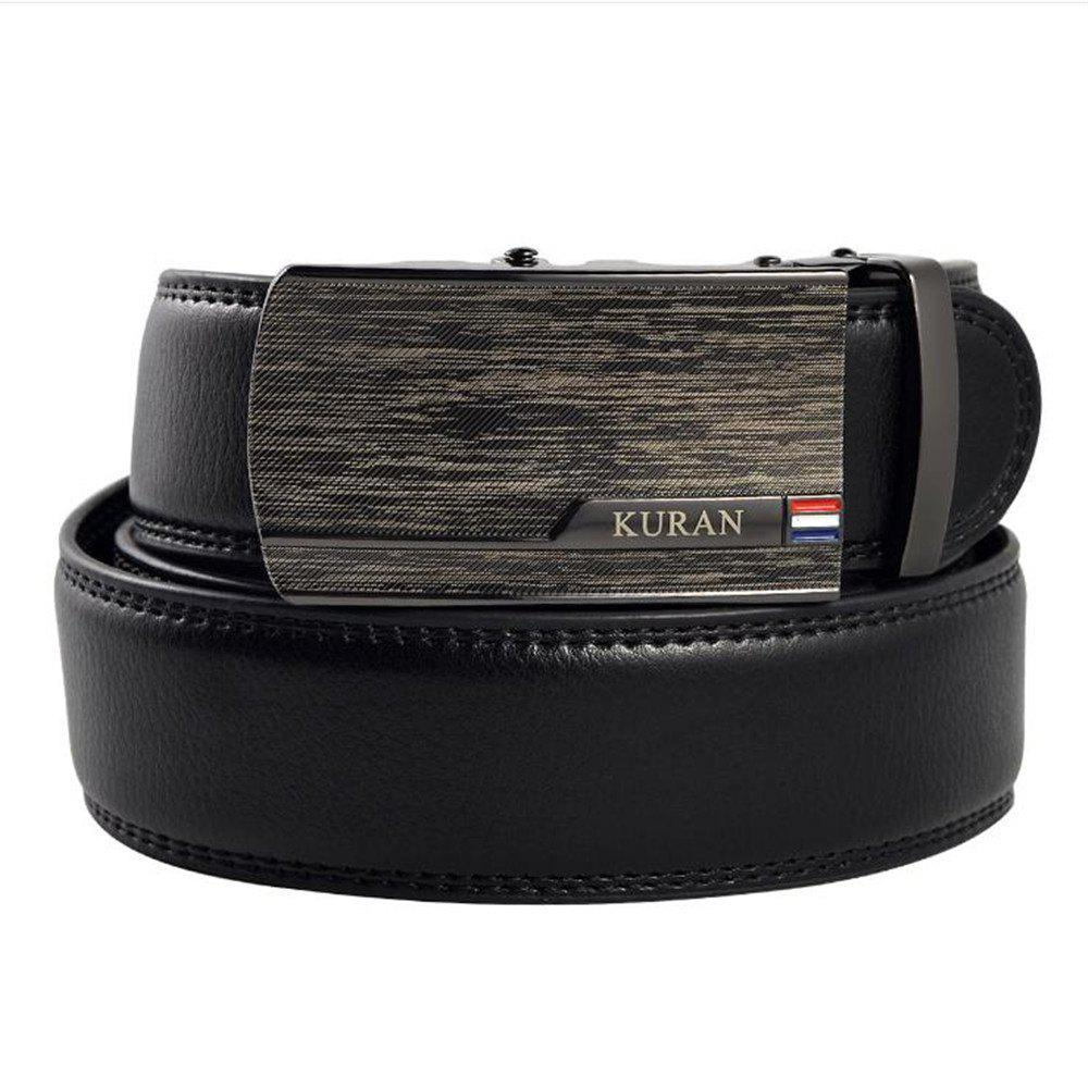 Male Laser Alloy Buckle Leather Belt - BLACK 125CM