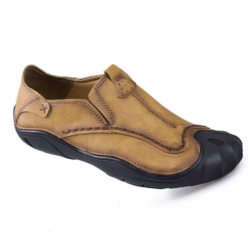 Casual Shoe Man Leather Breathable Man Low Help Shoes - BROWN 38