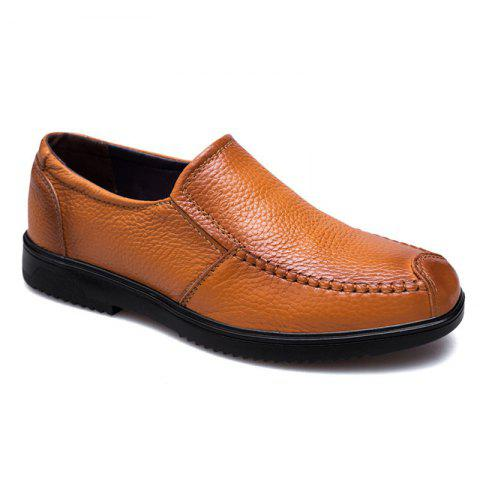 Leather Breathable and Casual Men'S Shoes - KHAKI 42