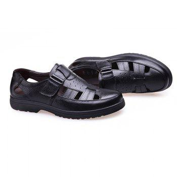 Middle Aged Men'S Leather Sandals for The Old Man'S Leather - BLACK 40