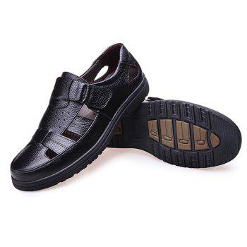 Middle Aged Men'S Leather Sandals for The Old Man'S Leather - BLACK 38