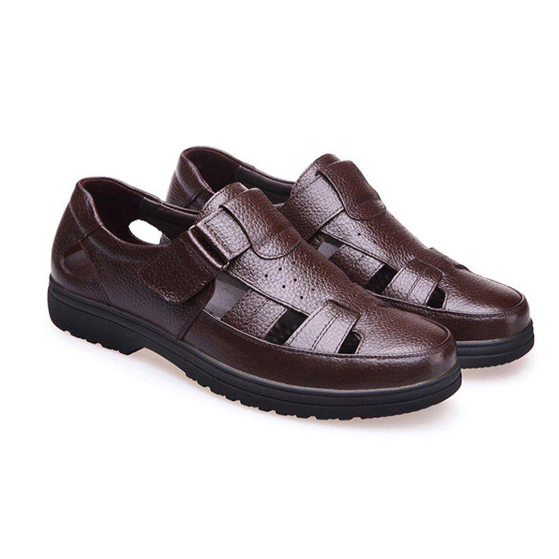 Middle Aged Men'S Leather Sandals for The Old Man'S Leather - BROWN 41