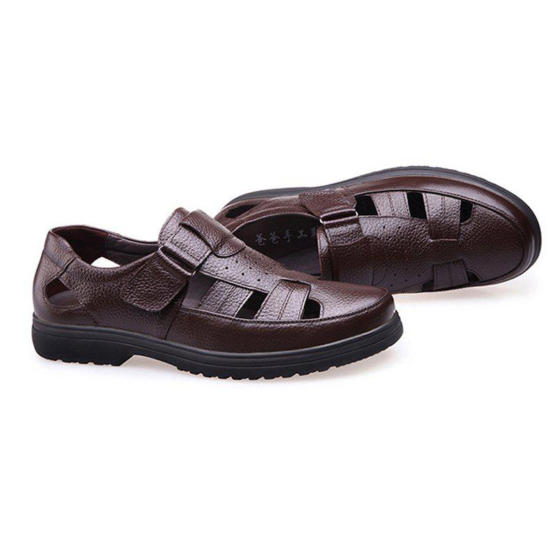 Middle Aged Men'S Leather Sandals for The Old Man'S Leather - BROWN 44