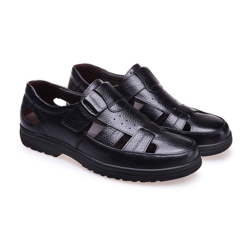Middle Aged Men'S Leather Sandals for The Old Man'S Leather - BLACK 42