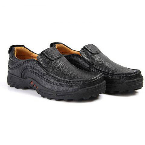 Men'S First Layer Leather Casual Shoes - BLACK 38