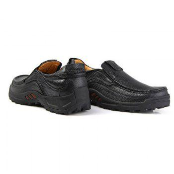 Men'S First Layer Leather Casual Shoes - BLACK BLACK