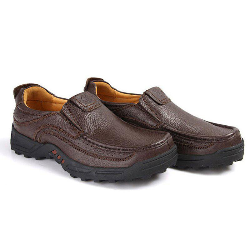 Men'S First Layer Leather Casual Shoes - MOCHA 47