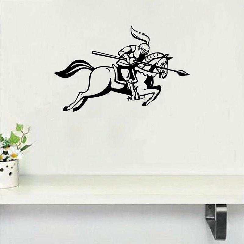 MA-33  Medieval Knight Jousting Lance Horse Wall Sticker Creative Cartoon Vinyl Wall - BLACK 24X15CM