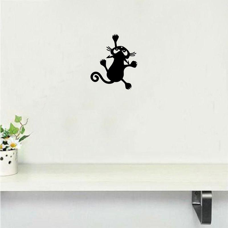 где купить Cat-54  Funny Cat Climbing Wall Sticker Animal Vinyl Wall Decal for Kids Room Bedroom по лучшей цене