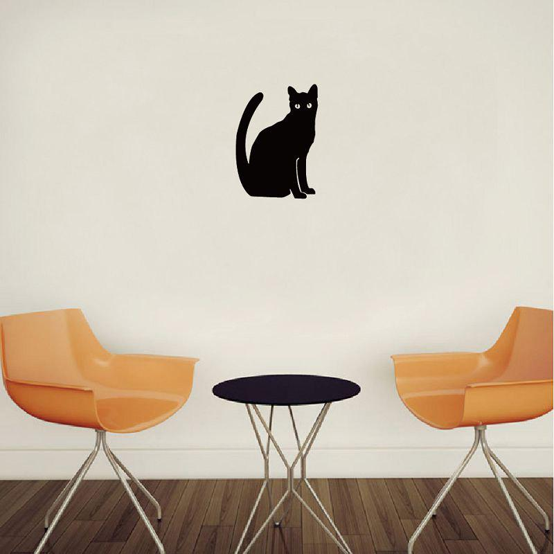 Cat-58 Sitting Cat Vinyl Wall Sticker Cartoon Animal Vinyl Wall Sticker for Kids Room - BLACK 13X10CM
