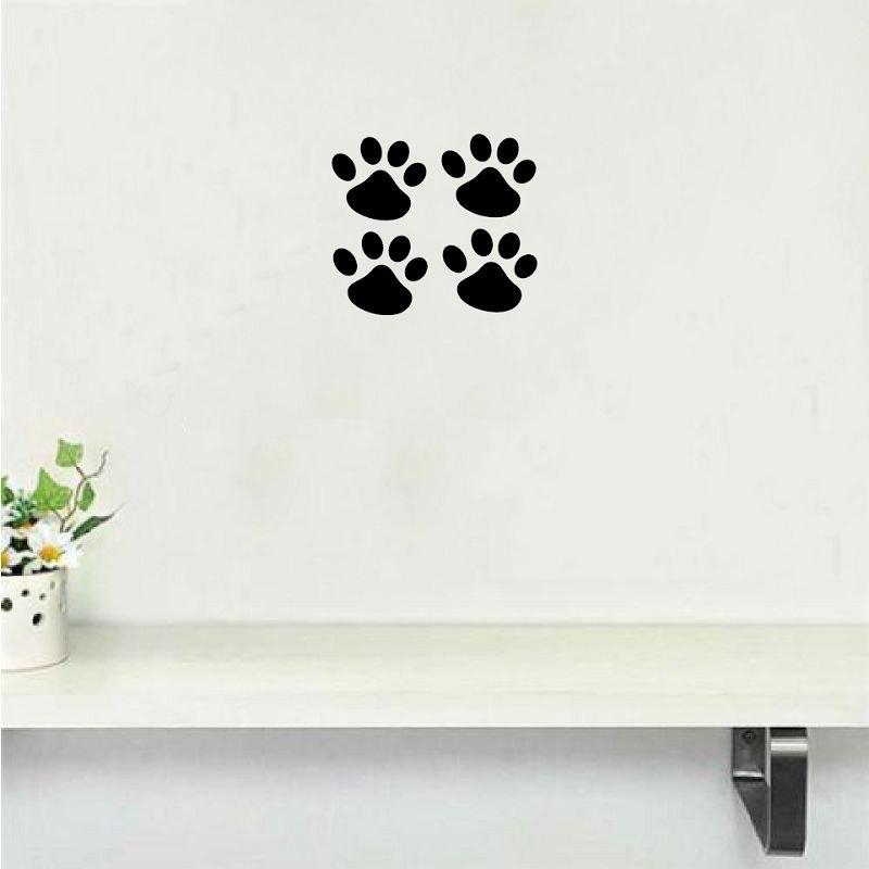 Dog-37   4Pcs Cat Paw Dog Claw Wall Sticker Cartoon Animal Vinyl Wall Decal for Kids Room - BLACK 13X12CM