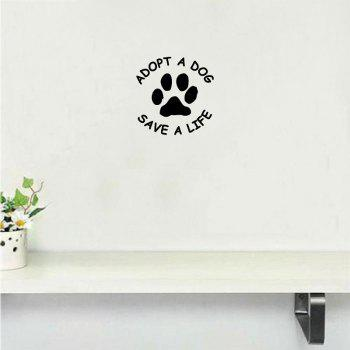 Dog-38   Adopt A Dog Save A Life Vinyl Wall Sticker Creative Cartoon Dog Paw Wall Decal - BLACK BLACK