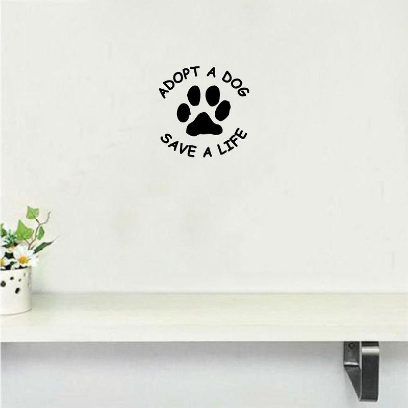 Dog-38   Adopt A Dog Save A Life Vinyl Wall Sticker Creative Cartoon Dog Paw Wall Decal - BLACK 13X13CM