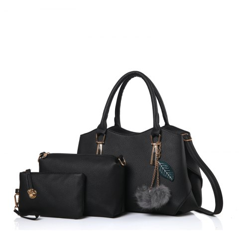 Three Pieces of Wild Fashion Large Capacity Handbag Shoulder Messenger Bag - BLACK