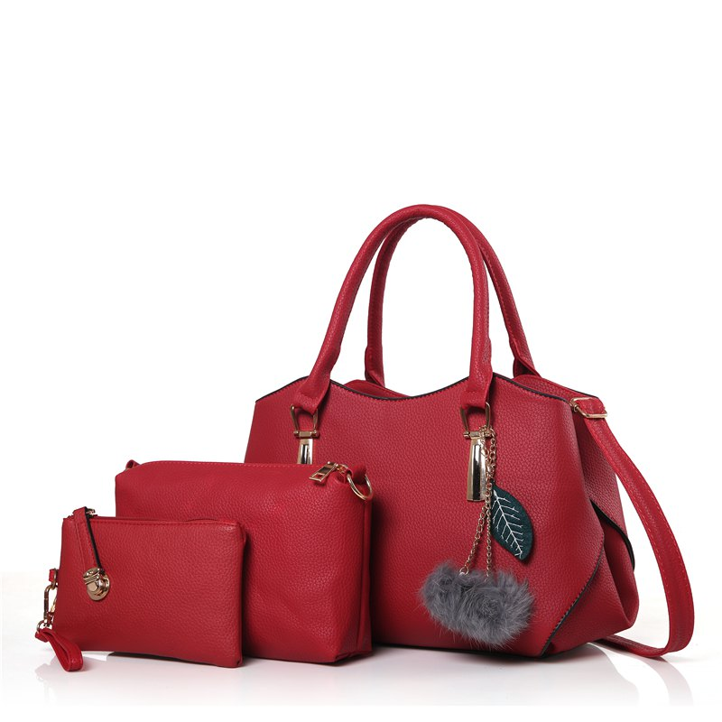 Three Pieces of Wild Fashion Large Capacity Handbag Shoulder Messenger Bag - RED