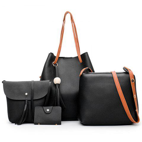 Four Pieces Bucket Bag Shoulder Messenger Bag Hangbag - BLACK