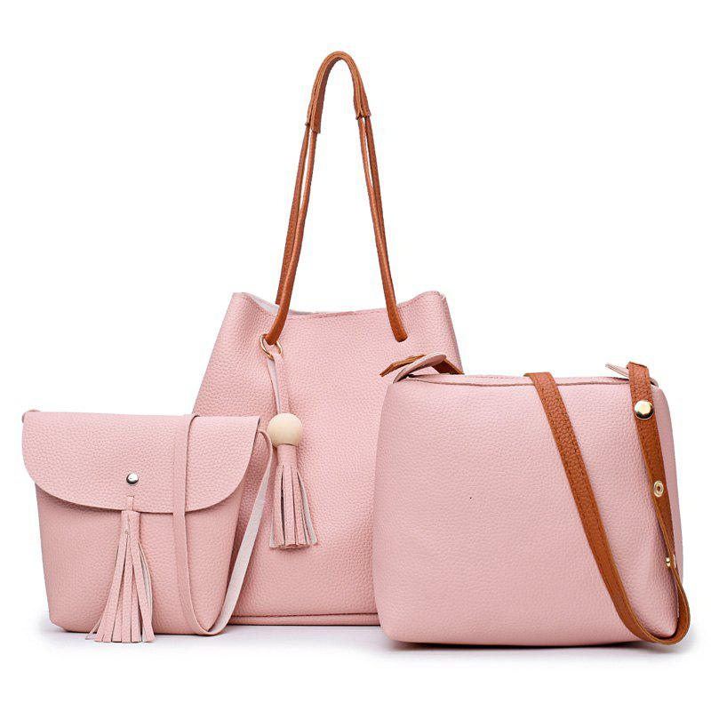 Four Pieces Bucket Bag Shoulder Messenger Bag Hangbag - PINK