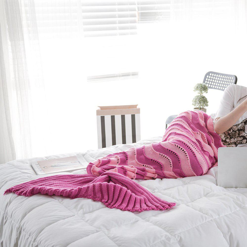 The New Product Knitted Wave Pattern Design Mermaid Tail Blanket - ROSE RED 90CM X 190CM