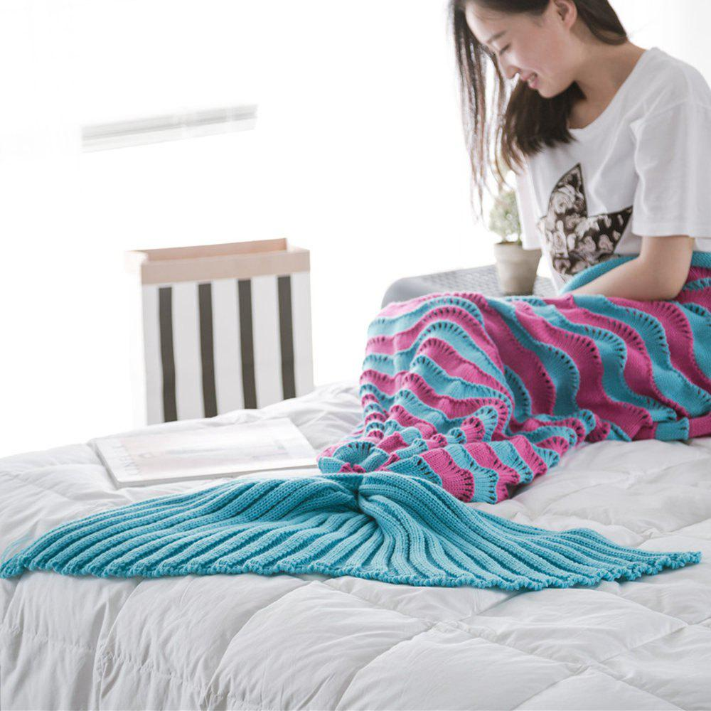 The New Product Knitted Wave Pattern Design Mermaid Tail Blanket - ROSE RED / BLUE 90CM X 190CM