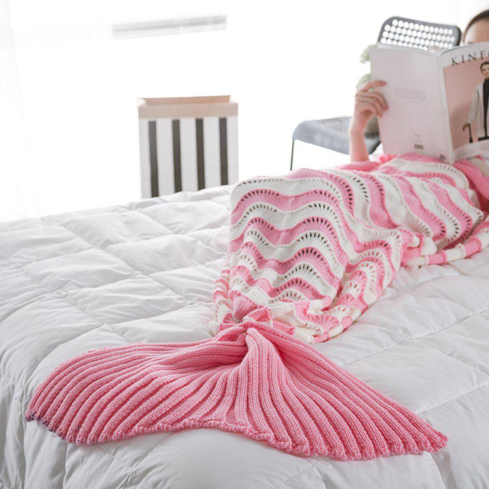 The New Product Knitted Wave Pattern Design Mermaid Tail Blanket - PINK 90CM X 190CM